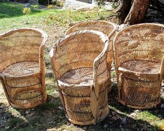 Midcentury Set of 4 Authentic Woven Wicker Round Armchairs