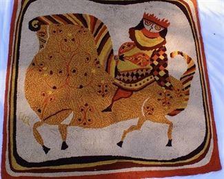 Vintage Rug/Tapestry of King on his Stallion