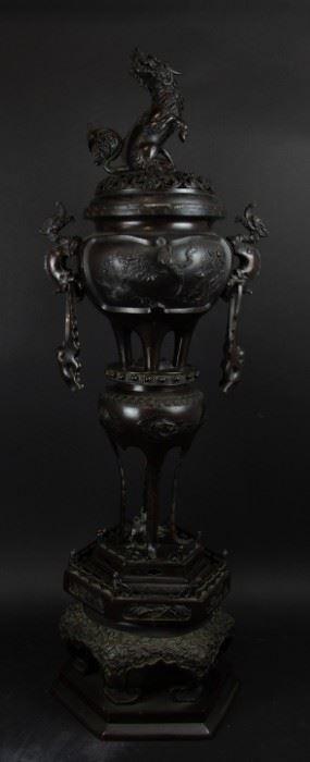 A Magnificent Meiji Bronze Tiered Censer