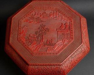 A Magnificent Octagonal Carved Cinnabar Box