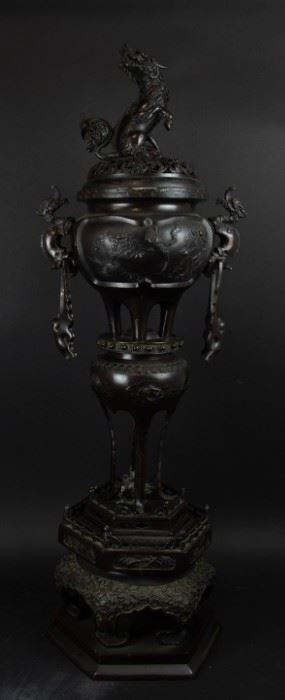A Magnificent Meiji Bronze Tiered Censer