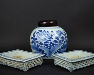 A Pair of Blue White Reticulated Planters tgth