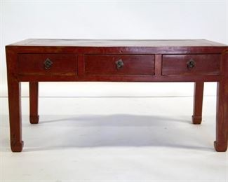 A Red Lacquered Chinese Three Drawer Coffee Table