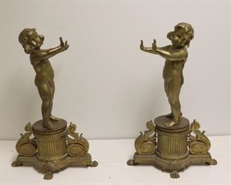 A th Century Pair Of Gilt Bronze Figural Chenets