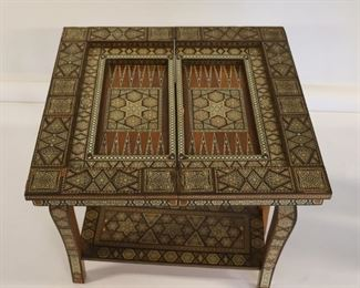 Antique And Finely Inlaid Moroccan Game Table