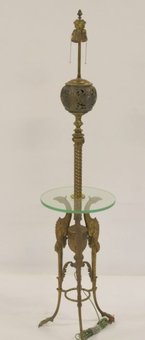 Antique Bronze Lamp Table With Bird Legs