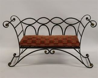 Antique Hand Wrought Iron Bench With Gilt Metal