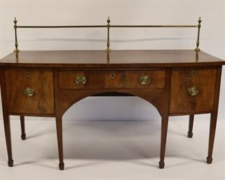 Antique Mahogany Sideboard With Inlay Brass