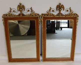 Antique Pair Of Mirrors With Gilt Eagle Crowns