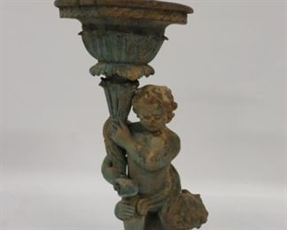 Antique Patinated Metal Figural Planter