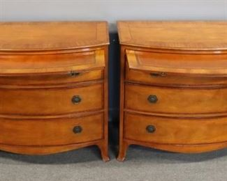 BAKER Signed Pair Of Mahogany Chests With Leather