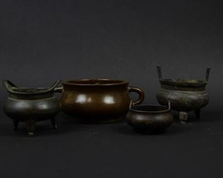 Group of Four Bronze and Metal Censers