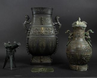 Group of Three Archaistic Bronzes