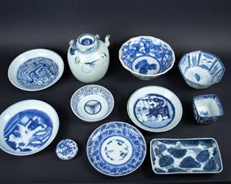 Grouping of Assorted Blue White Porcelain