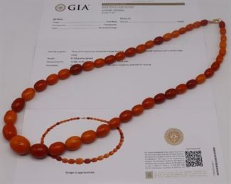JEWELRY Amber Necklace GIA Report No
