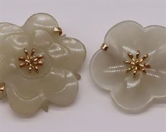 JEWELRY Carved Celadon Jade Floral Brooches