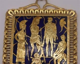 JEWELRY Italian BREV kt Gold and Enamel Pendant