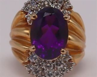 JEWELRY kt Gold Amethyst and Diamond Ring