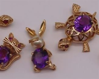 JEWELRY kt Gold and Colored Gem Brooches