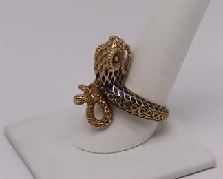 JEWELRY kt Gold and Enamel Bypass Snake Ring