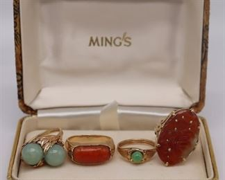 JEWELRY kt Gold Jade and Carnelian Rings