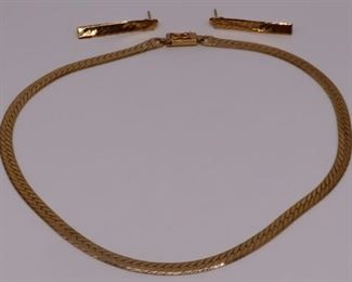 JEWELRY Signed Italian kt Gold Curb Link Suite