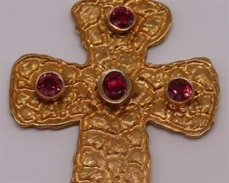 JEWELRY Signed kt Gold and Colored Gem Cross