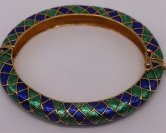 JEWELRY Signed kt Gold and Enamel Bracelet