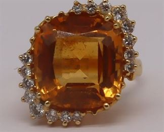 JEWELRY Signed kt Gold Citrine and Diamond