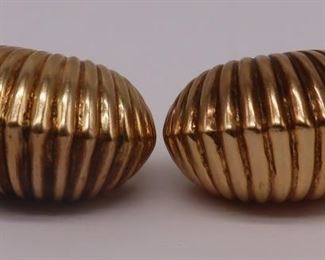 JEWELRY Vintage Signed kt Gold Ribbed Ear Clips