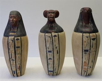 Lot Of Vintage Canopic Jars With Hieroglyphics