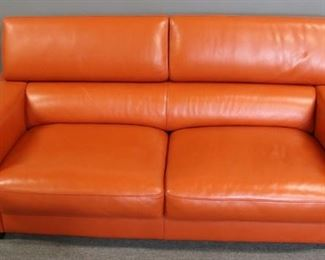 Maurice Villency Signed Leather Sofa