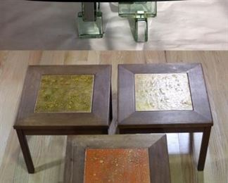 MIDCENTURY Glass Brick Coffee Table Together