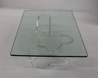 MIDCENTURY Lucite Coffee Table With Glass Top