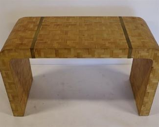 Midcentury One Drawer Parquetry Inlaid Waterfall