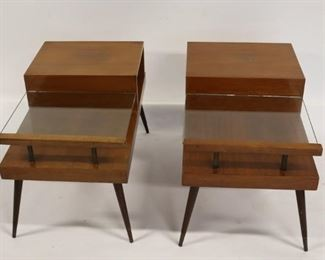 MIDCENTURY Pair Of Tiered End Tables