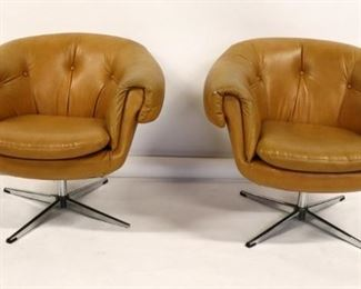 MIDCENTURY Pair of Upholstered Swivel Chairs