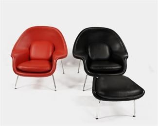 MIDCENTURY PAIR Red Black Womb Chairs