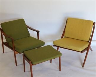 MIDCENTURY Reclining Chair Ottoman Together