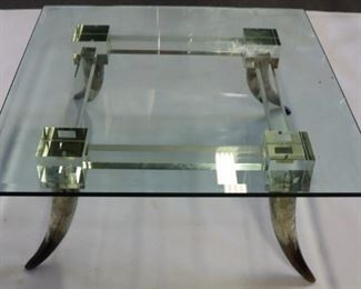 Midcentury Style Lucite Coffee Table With Horn