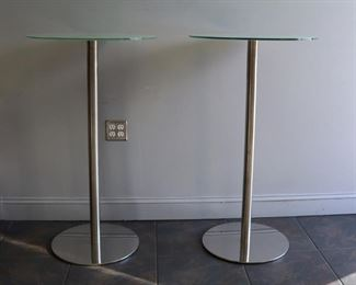 Midcentury Style Pair of Chrome Bar Tables