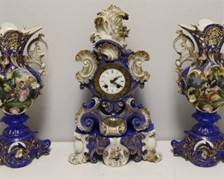 Old Paris Porcelain Clock Garniture Set Clock