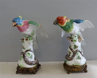 Pair Of Large Bronze Mounted Porcelain Parrots