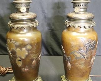 Pair Of Meji Bronze Oil Lamps Now Electrified