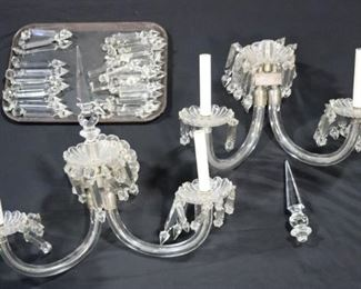 Pair Of Victorian Cut Glass Arm Sconces
