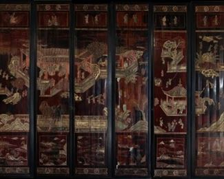 Panel Chinese Screen Mounted As Doors