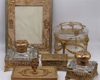 Pc French Gilt Desk Set and Frame