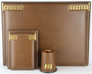 Pc Vintage Gucci Leather Desk Set
