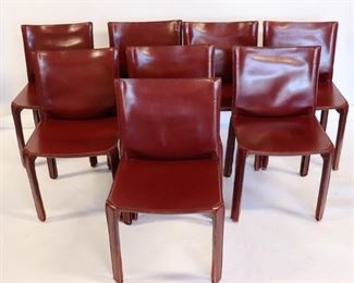 Set Of Mario Bellini Leather Cab Chairs