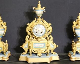 Signed Dore Bronze Clock Garniture Set With Sevres